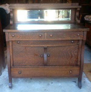 ANTIQUE OAK BUFFET/SIDEBOARD WITH BEVELED MIRROR - *ESTATE