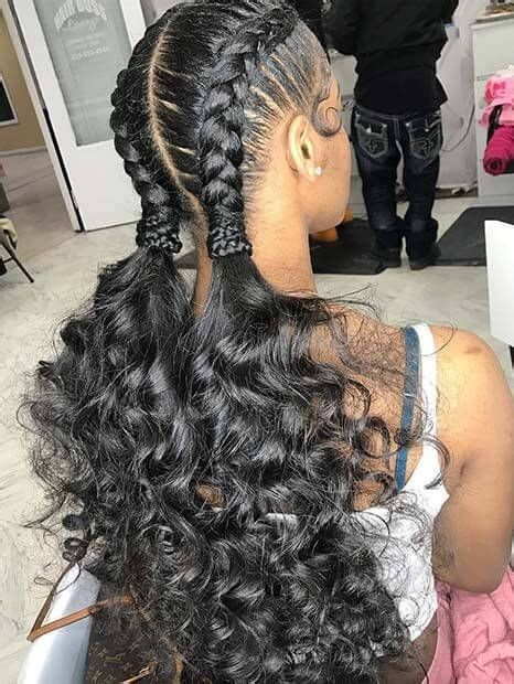 Feed-In Braids Hairstyle With High Curly Ponytail #