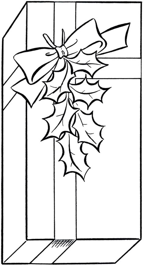Holiday Gift Clip Art Image - Coloring Page! - The
