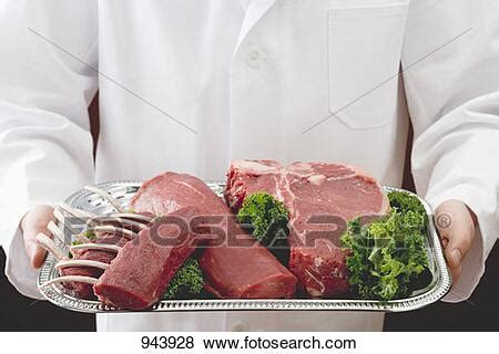 Pictures of Racks of lamb, beef fillet and T-bone steak