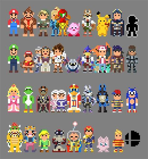 Super Smash Bros Brawl Characters 8 Bit by